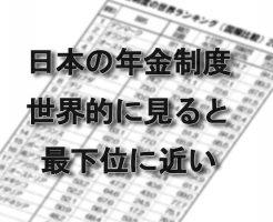 日本の年金制度ランキングは最下位に近い